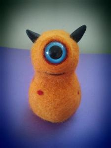 Baby Emm (orange) - needle felted by Aviena
